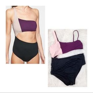 ATHLETA purple pink black cut out swimsuit NWT